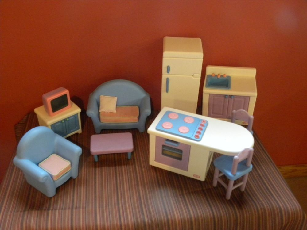 RARE EUC 1994 COMPLETE VINTAGE LITTLE TIKES BARBIE SIZE DOLL HOUSE FURNITURE  LOT