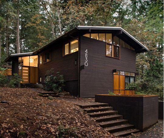 Black And Cedar Homes Remodeling Mid Century Modern Home Garden Landscaping Pintere