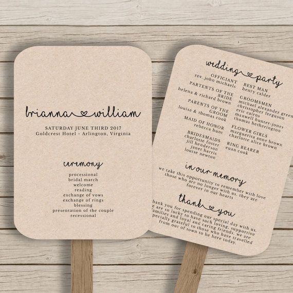 wedding fan program template rustic wedding fan printable diy