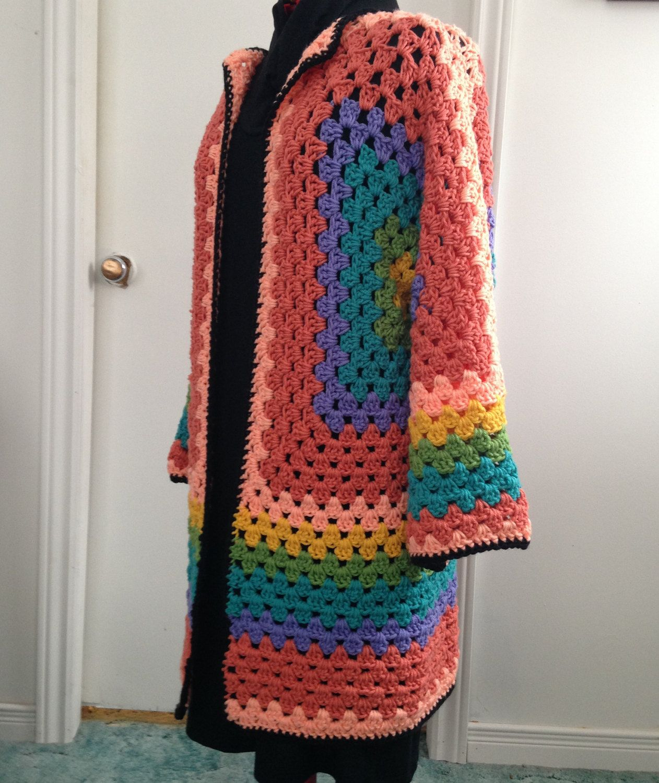 Crochet Rainbow Granny Hexagonal Cardigan by HandmadebyHeikeHeart ...