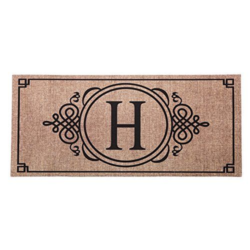1 X Sassafras Decorative Insert Mat 10x22 Inches Burlap Monogram H See This Great Product Burlap Monogram Door Mat H Monogram