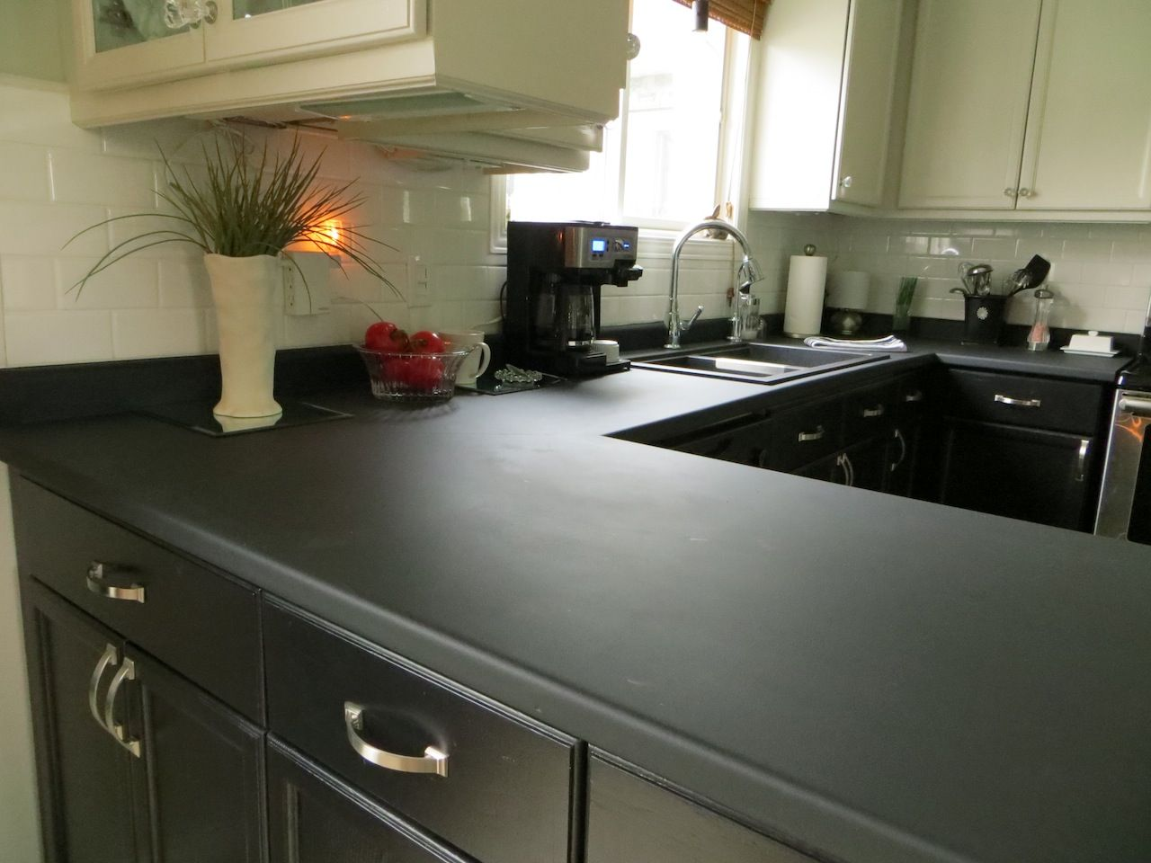 Chalkboard Painted Countertops Use Slightly Rough Roller