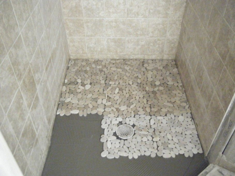 Astonishing Grey Ceramic Wall And Pebble Shower Floor Tile Inside Small Shower Room