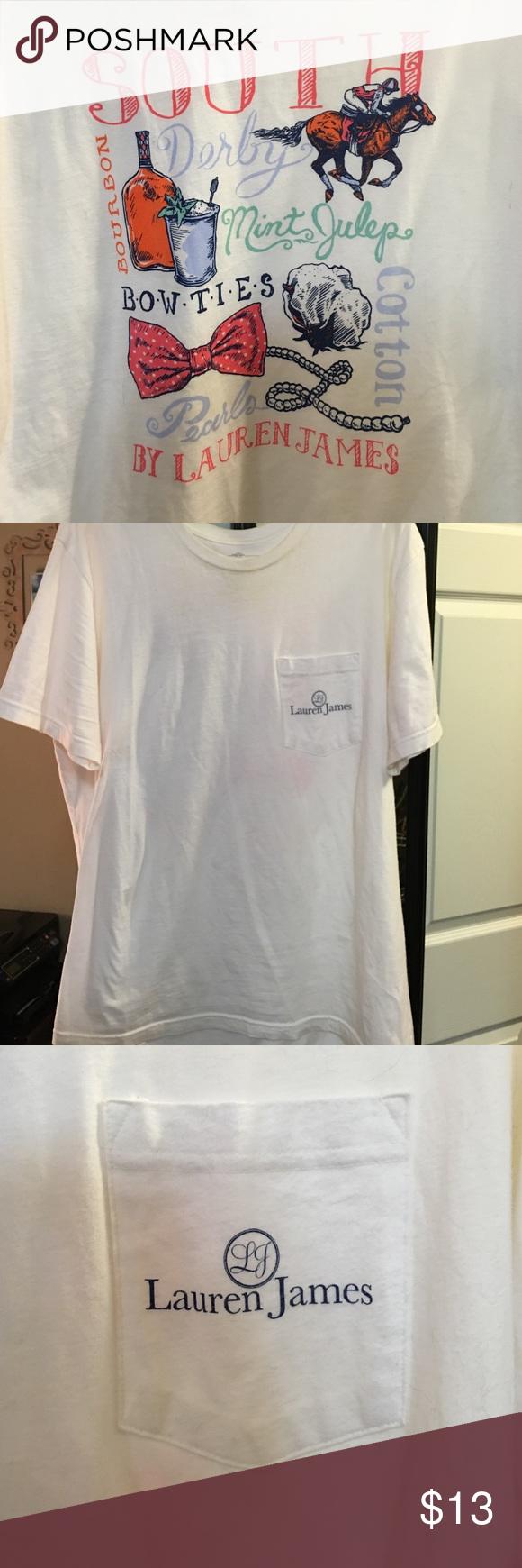 Lauren James Southern Tee Perfect southern t shirt, front pocket, colorful back design Lauren James Tops Tees - Short Sleeve