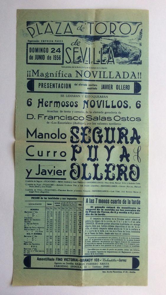 Rare 1956 Spanish BULLFIGHTING Poster Plaza de Toros Sevilla España Bull Matador