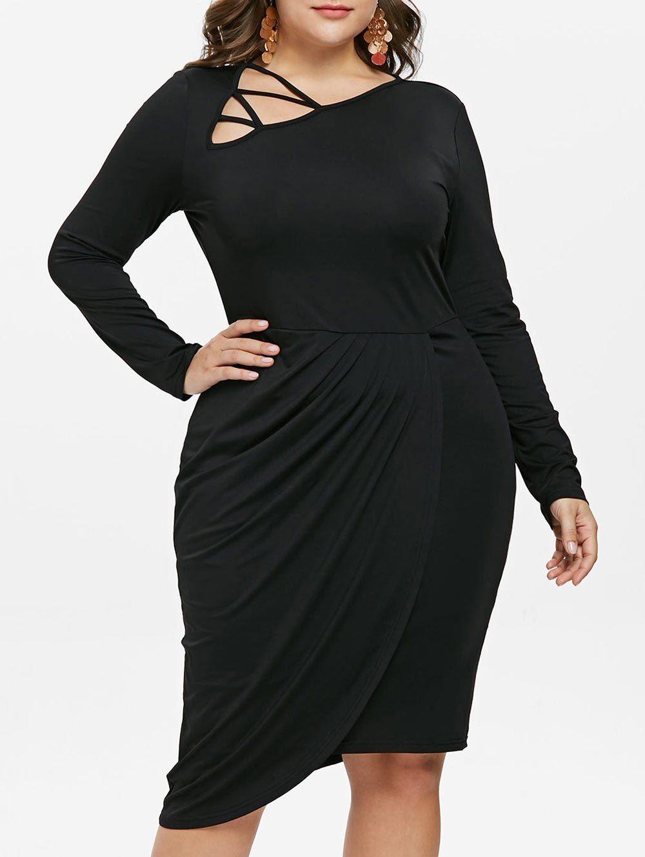 Plus Size Skew Collar Long Sleeve Dress in 2019 | Fashion | Dresses ...