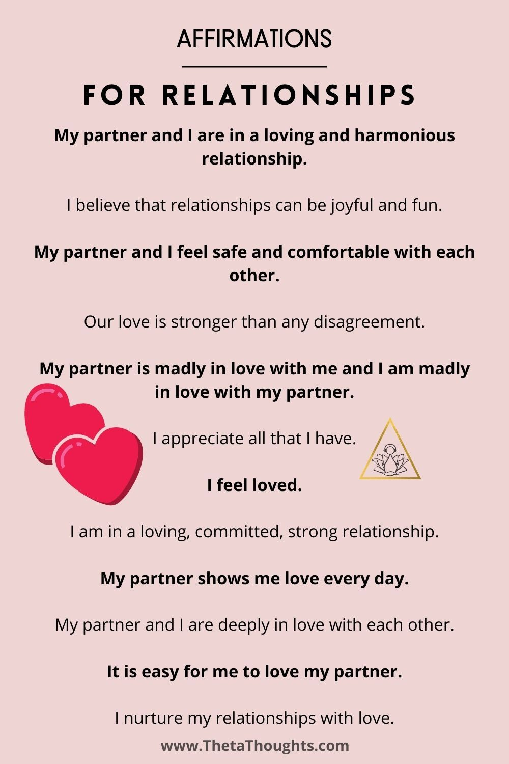 Positive affirmations to strengthen your relationships and love life.