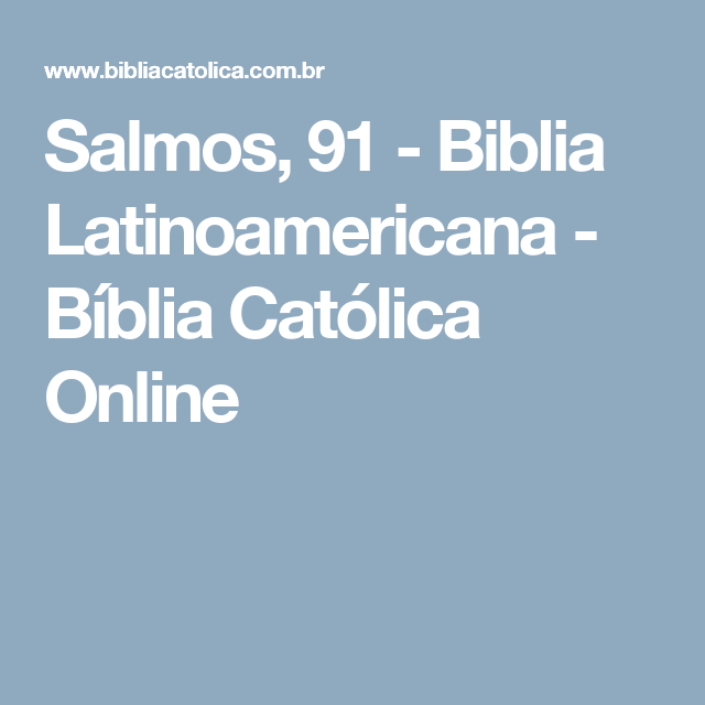 Salmos  Biblia Latinoamericana Biblia Catolica Online
