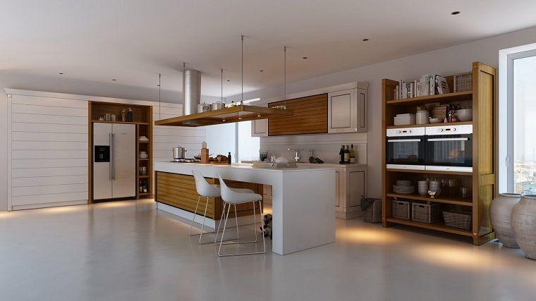 cocina amplia blanca isla madera sillas altas ideas   Cocina   Pinterest
