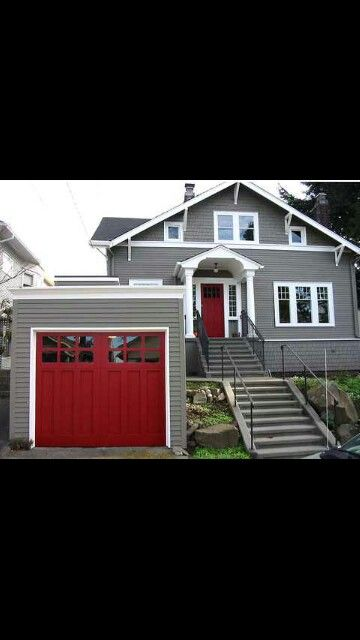 Grey House White Trim Red Doors Love The Garage Door Also