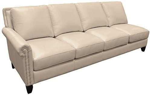 Omnia Leather Benjamin Left Arm 4 Cushion Sofa In Leather, With Nail Head,  Softstations