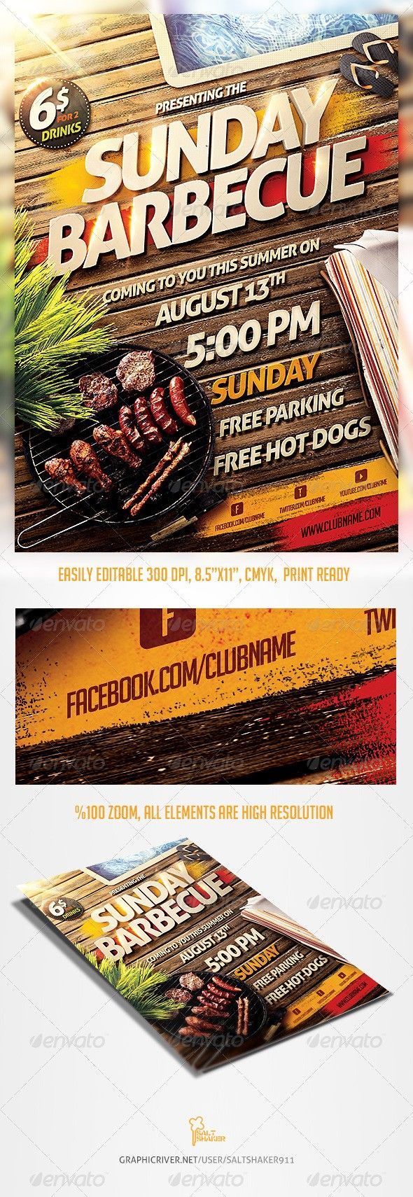 Barbecue Bbq Party Flyer Template Bbq Party Party Flyer Flyer Template