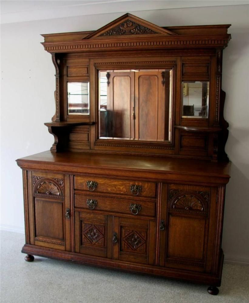 large antique victorian solid english oak sideboard circa 1900