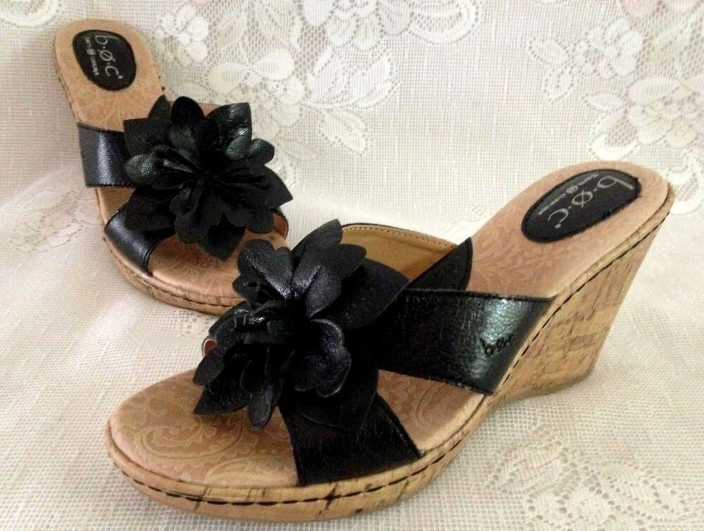 aca266373eddcd B.O.C. Born Concept Fortune Black Leather Flower Cork Wedge Sandals Women s  9M  fashion  clothing