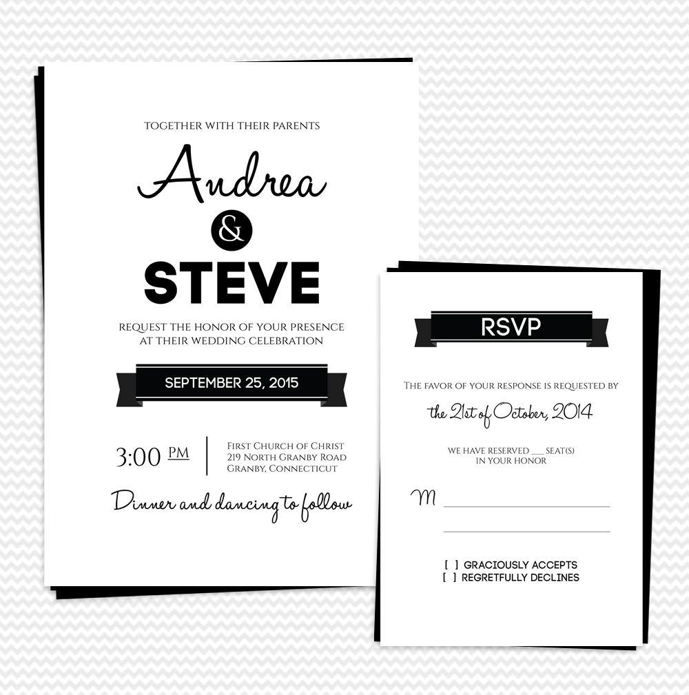 FREE PDF Downloads. Modern Text-based Wedding Invitation