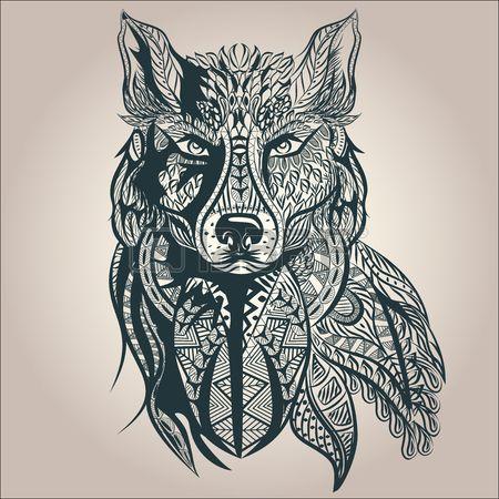 ornement pr dateur vintage loup tatouage noir et blanc. Black Bedroom Furniture Sets. Home Design Ideas