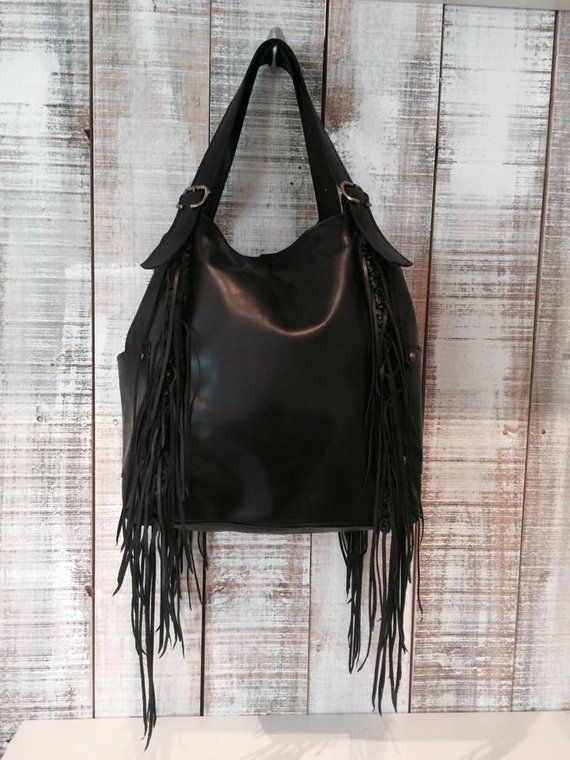 Black Hobo Bag Purse Fringe Leather Everyday Tassel Fr