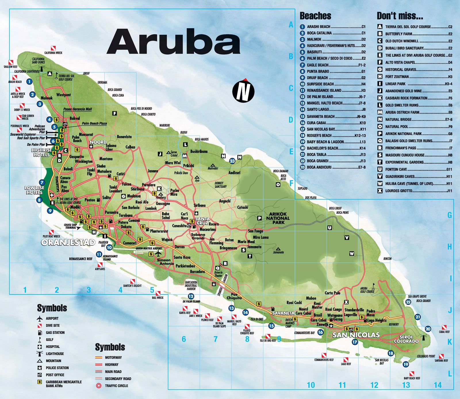 Image result for aruba's beaches map