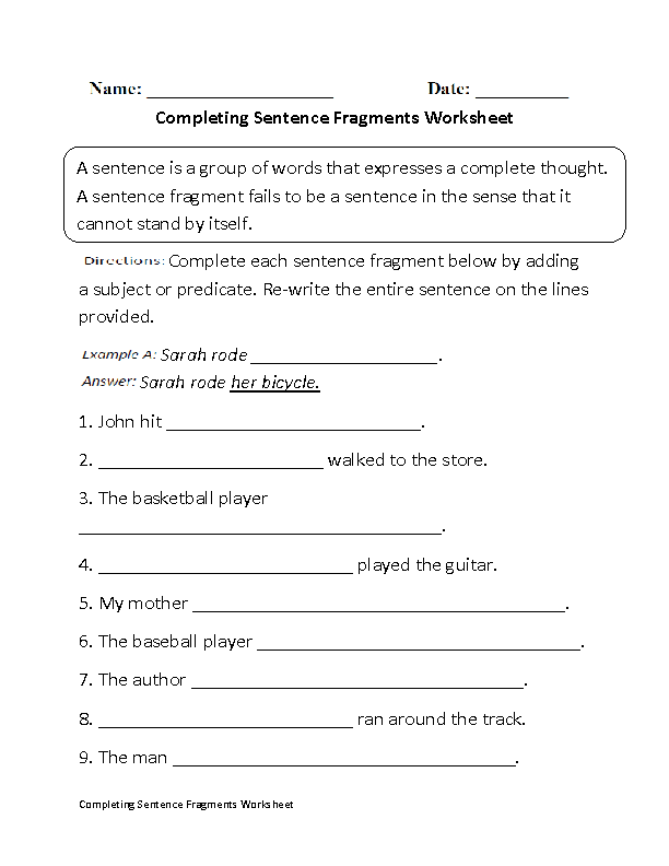 Completing Sentence Fragments Worksheet Beginner Education