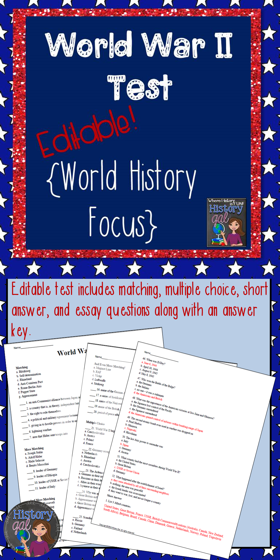 World War Ii Test Includes Matching Multiple Choice Short Answer  World War Ii Test Includes Matching Multiple Choice Short Answer And Essay  Questions Test Is Editable In Microsoft Word  And  Versions   Essay On Health also High School Dropout Essay  Ghostwriter