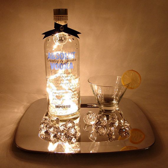 Absolut Vodka Light Up Liquor Bottle   Lighted Decorated Bottle / Lamp /  Bar / Party