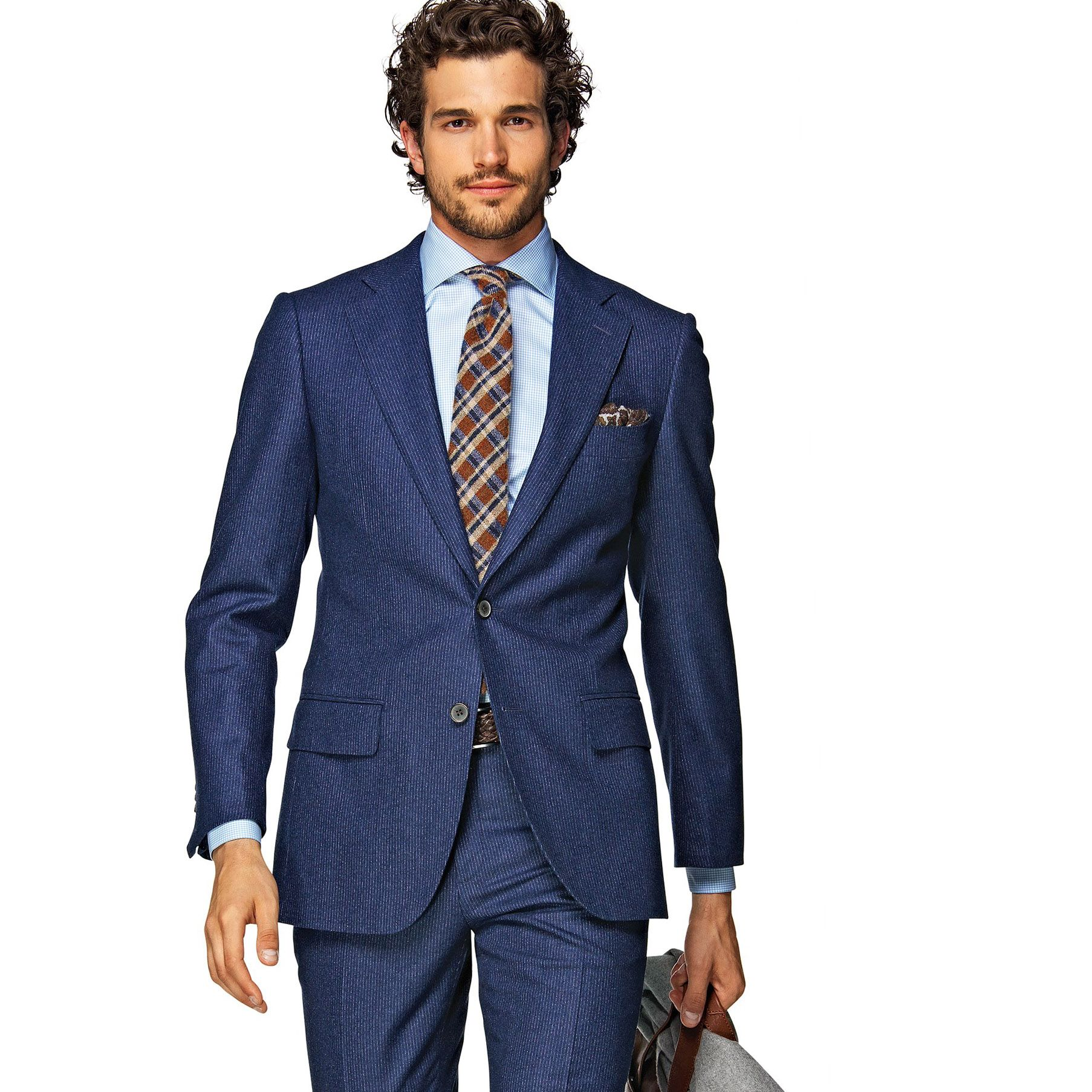 You can never go wrong with a trusty pinstripe suit in navy blue ...