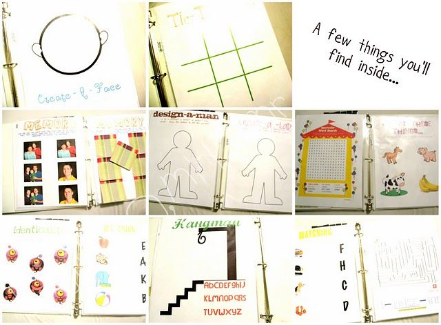 Make an Activity Book. Print out pages for toddler games