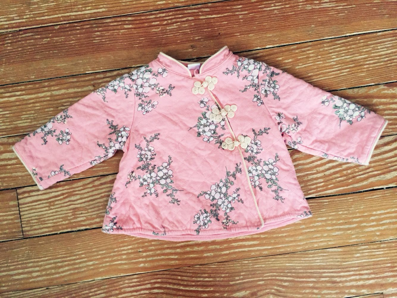 12 months pink cherry blossom kimono jacket