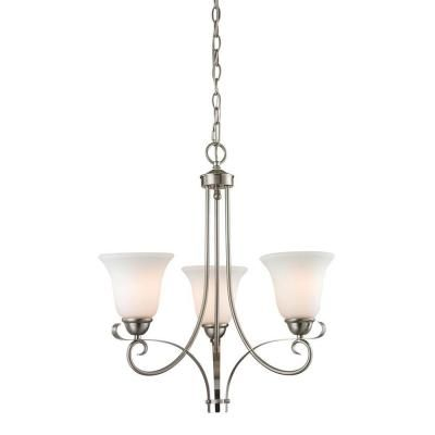 Titan Lighting Brighton 3-Light Brushed Nickel Ceiling Chandelier-TN-50004 - The Home Depot