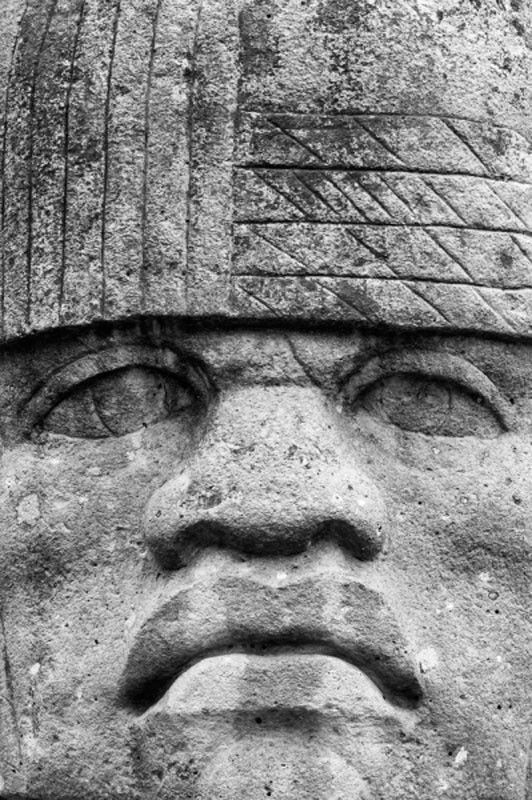 Black and white photograph of the Colossal Head, an Olmec head on display outside the National Museum of Natural History in Washington, D.C. Standard Prints: - Printed on real silver-based Resin Coate