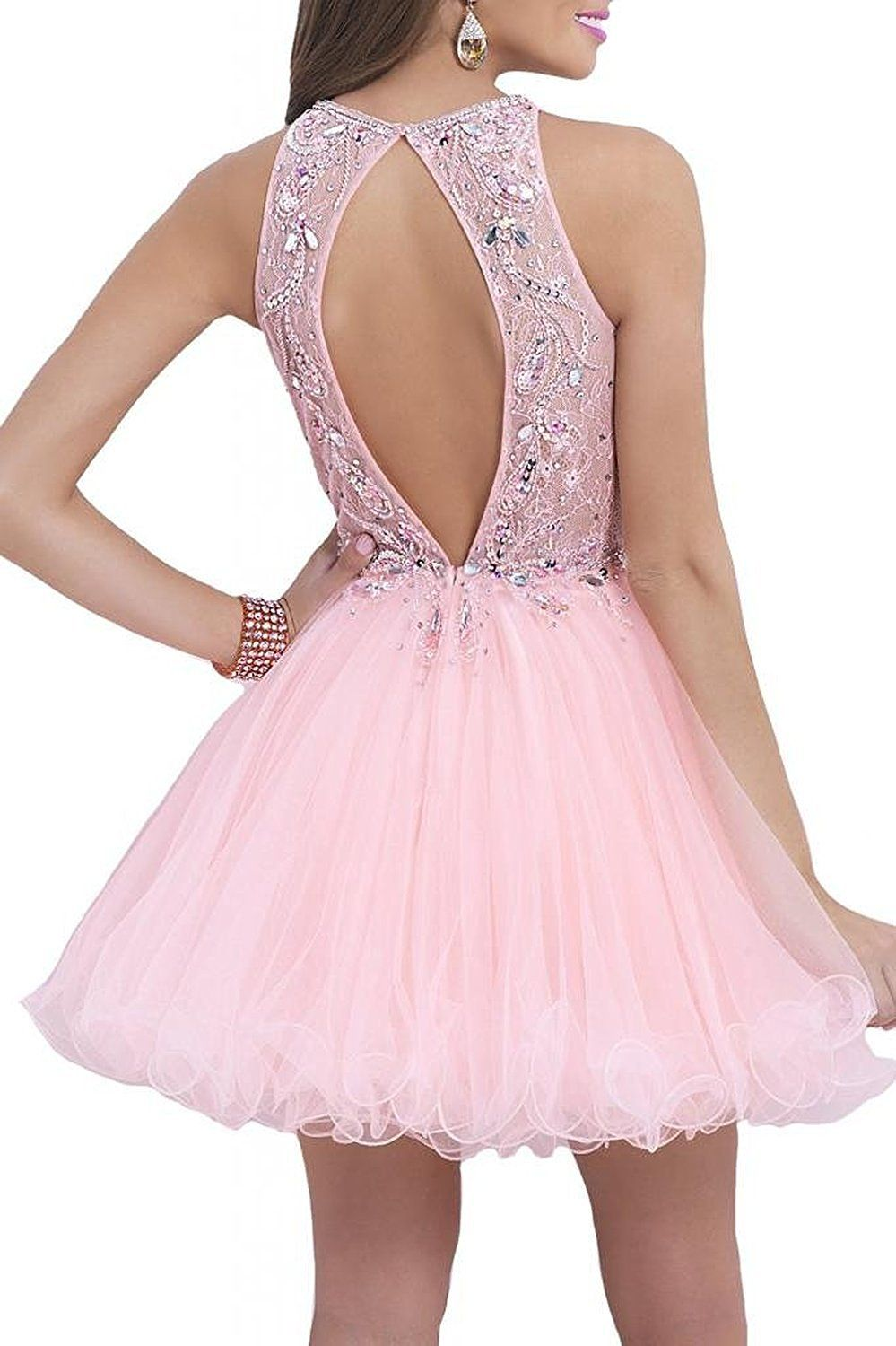 0d01a89d7341 Product not Available - Cute Dresses. Cute, chic and sexy pink prom dress!!  Halter Rhinestone Prom Dress Backless Homecoming