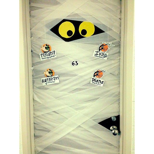 Our Finished Dorm Project Halloween Dorm Mummy Fall Love Diy Diy Craft Creative Popular Halloween Door Decorations Halloween Dorm Dorm Halloween Decorations