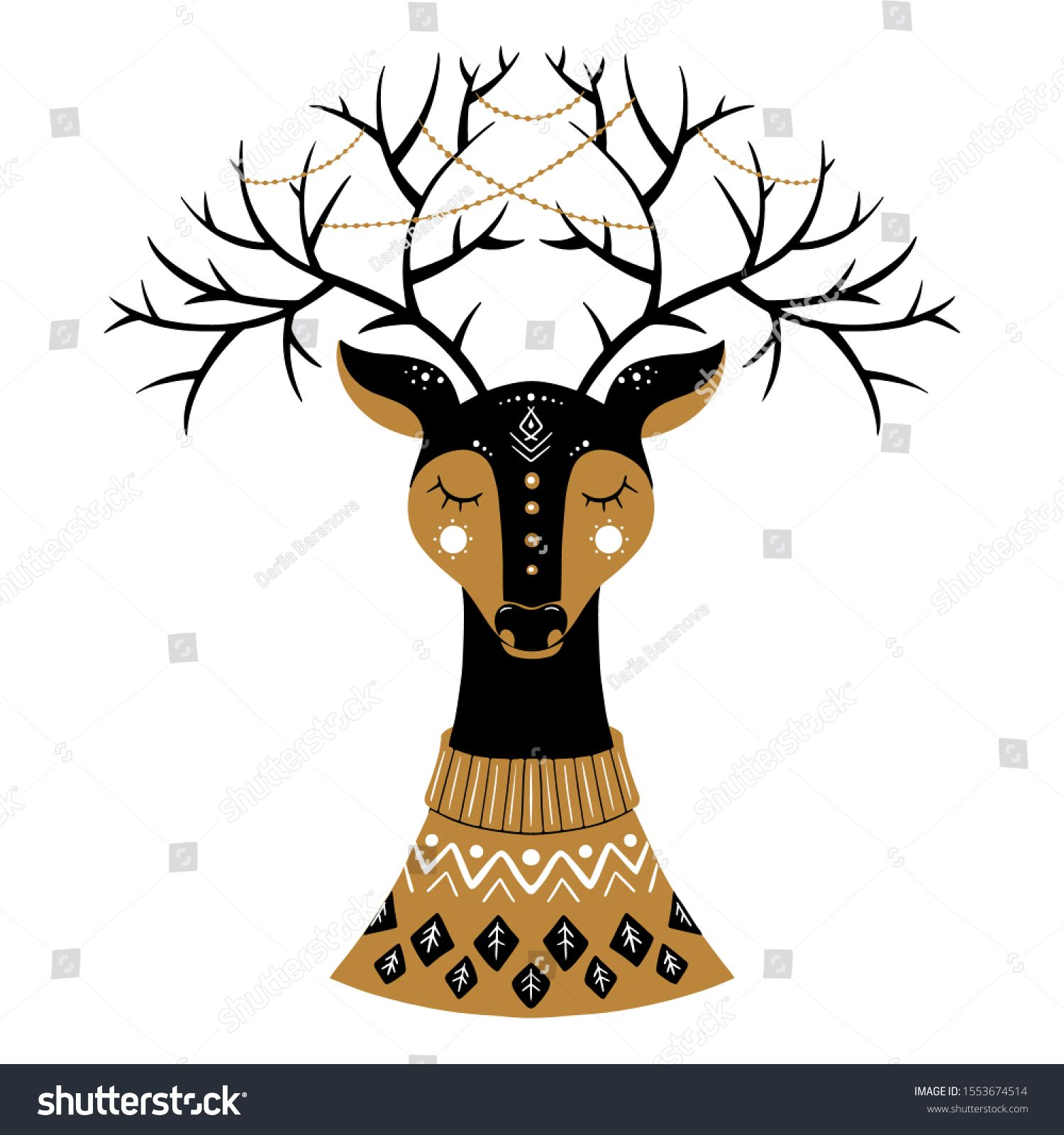 Vector Christmas Illustration In Scandinavian Style Cute Reindeer With Large Horns Holiday Greeting Car In 2020 Christmas Drawing Christmas Illustration Art Drawings