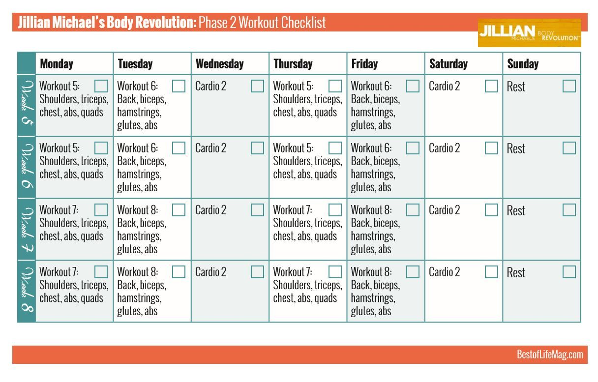 jillian michaels workout rotation printable checklist - body
