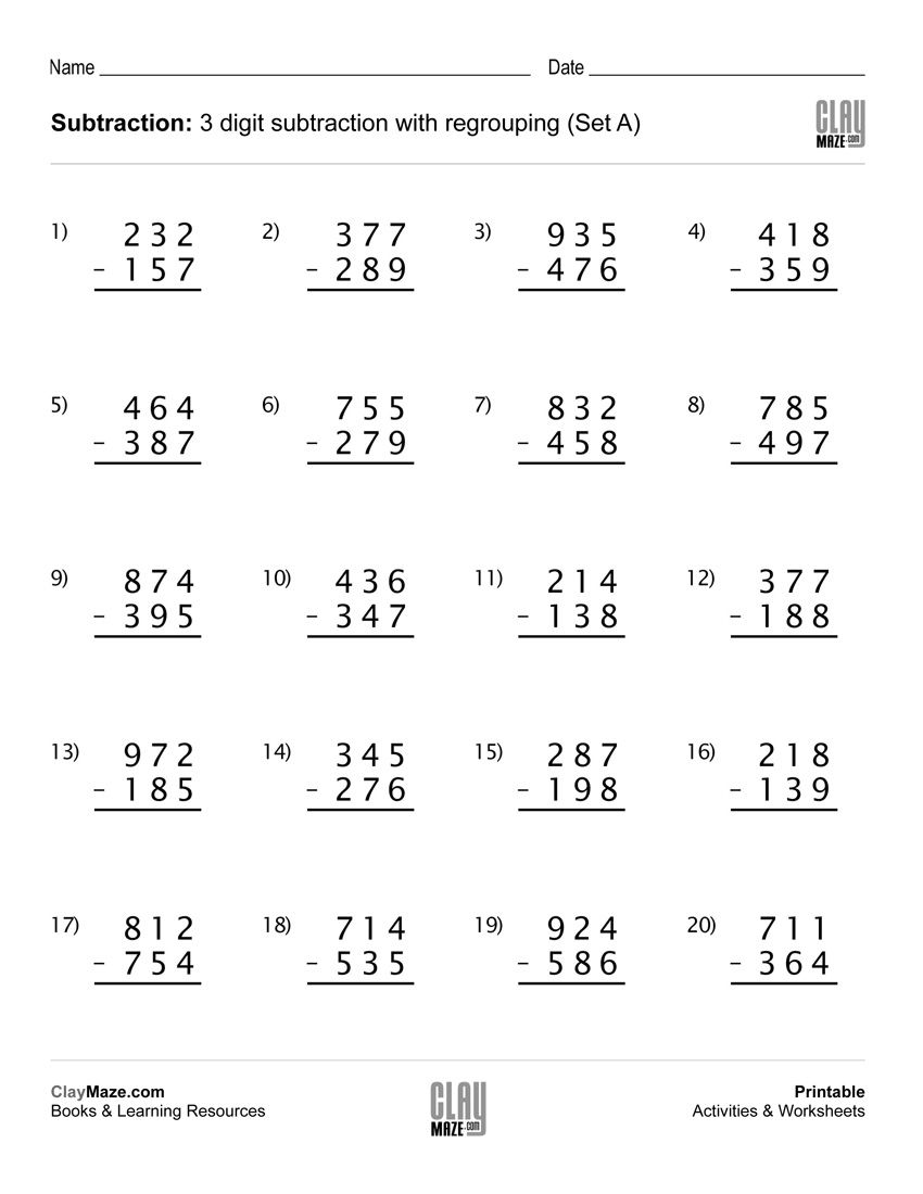 This Worksheet Contains 20 Subtraction Problems With Regro 3rd Grade Math Worksheets Subtraction With Regrouping Worksheets Addition And Subtraction Worksheets Regrouping addition and subtraction