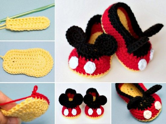 Mickey Mouse Crochet Booties Free Pattern | Pinterest | Handarbeiten ...
