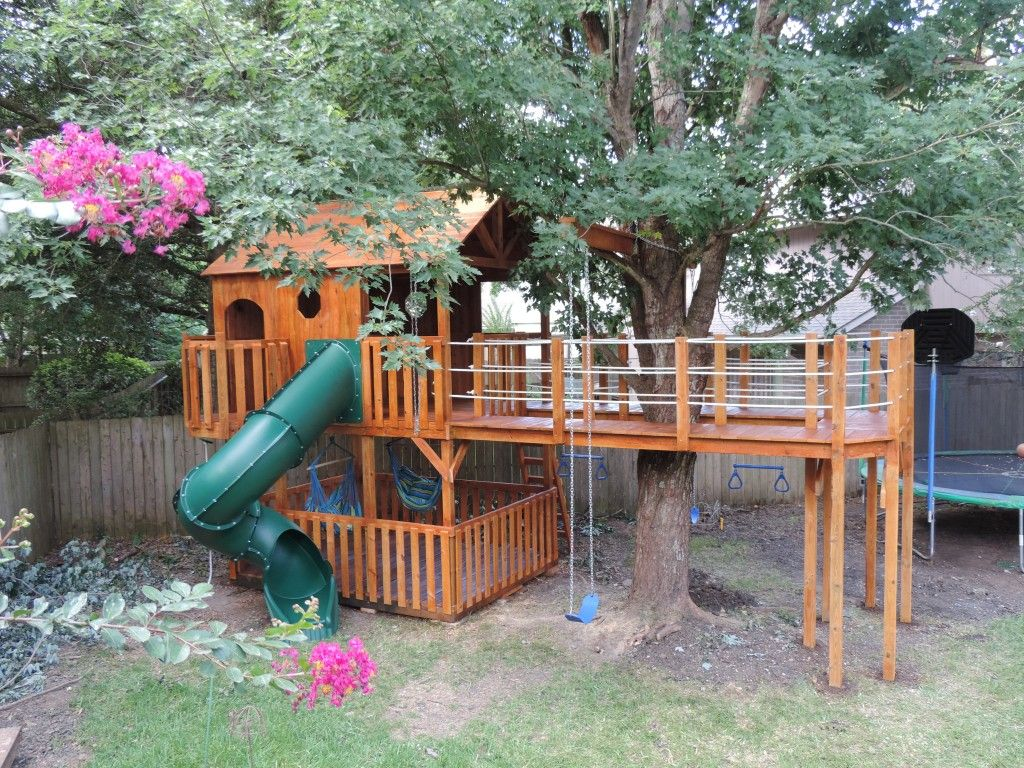 deck around tree and hammock swings front yard oasis pinterest