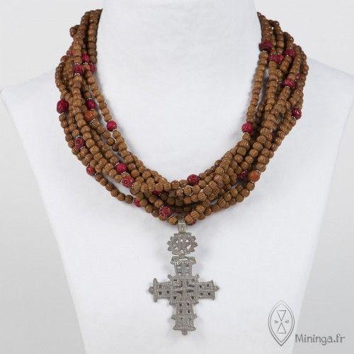 by Mininga Designs | www.miningadesigns.com | Sarah | vintage - ancient - necklace - brown - silver - ethiopian cross - boxwood - Africa