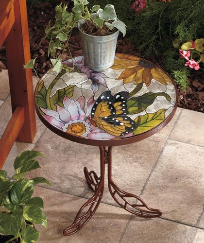 Butterfly Flower Stained Glass TOP Table Patio Porch Garden Balcony Plant Stand | eBay
