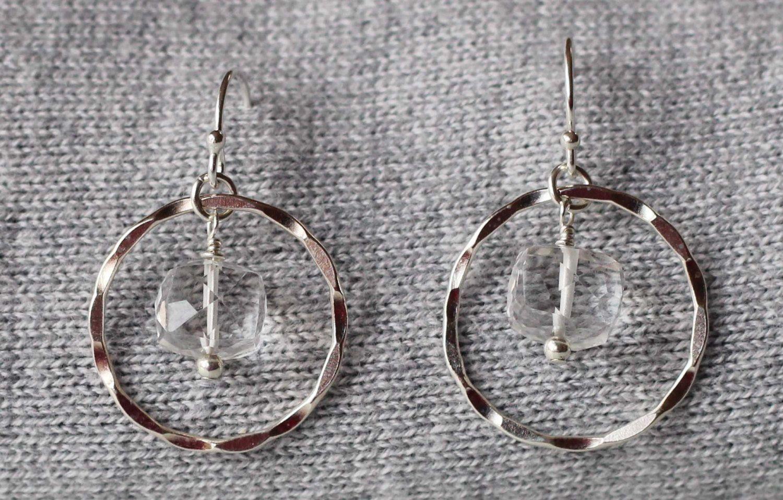 Clear Quartz Gemstones in Sterling Silver Hoops Earrings by ILgemstones on Etsy
