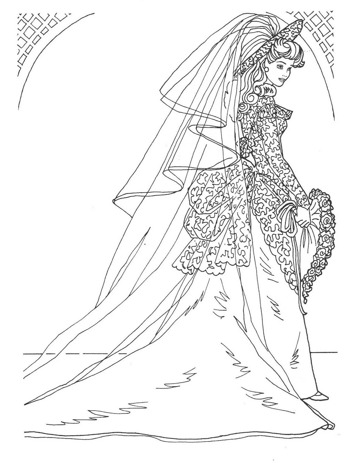 Barbie coloring pages wedding day barbie in bridal gown coloring pages