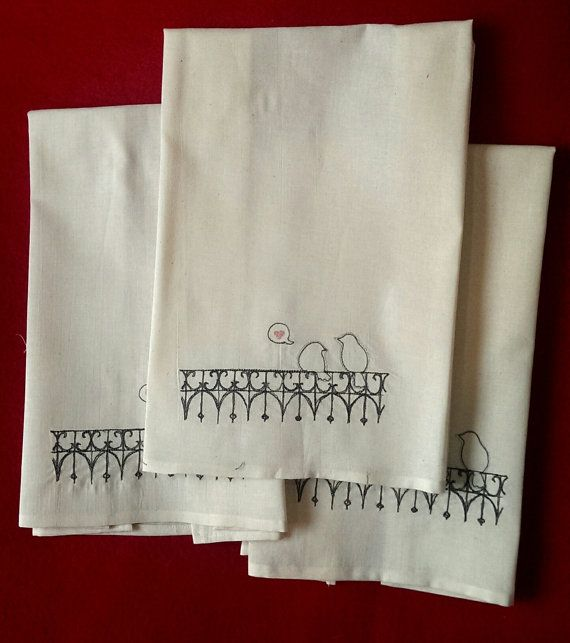 Love Birds on a Fence muslin hand towels - one of my favorites!