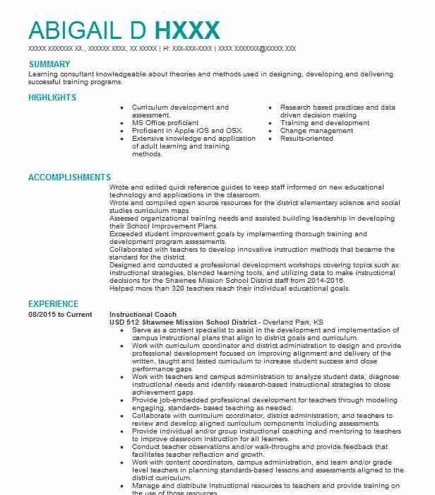 Instructional Coach Objectives