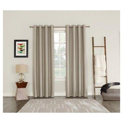 "Talin Woven Geometric Blackout Lined Grommet Curtain Panel Oatmeal 52""x84""- Sun Zero"