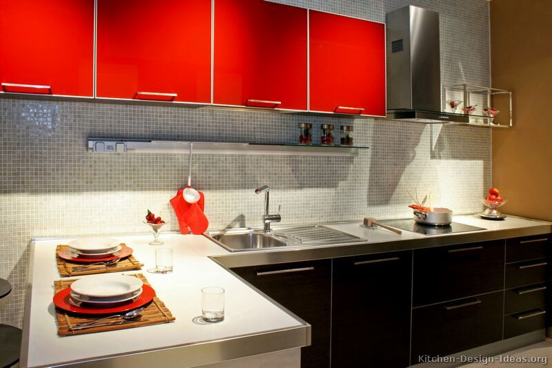 Black Kitchen Cabinets Red And Black Kitchen Cabinets