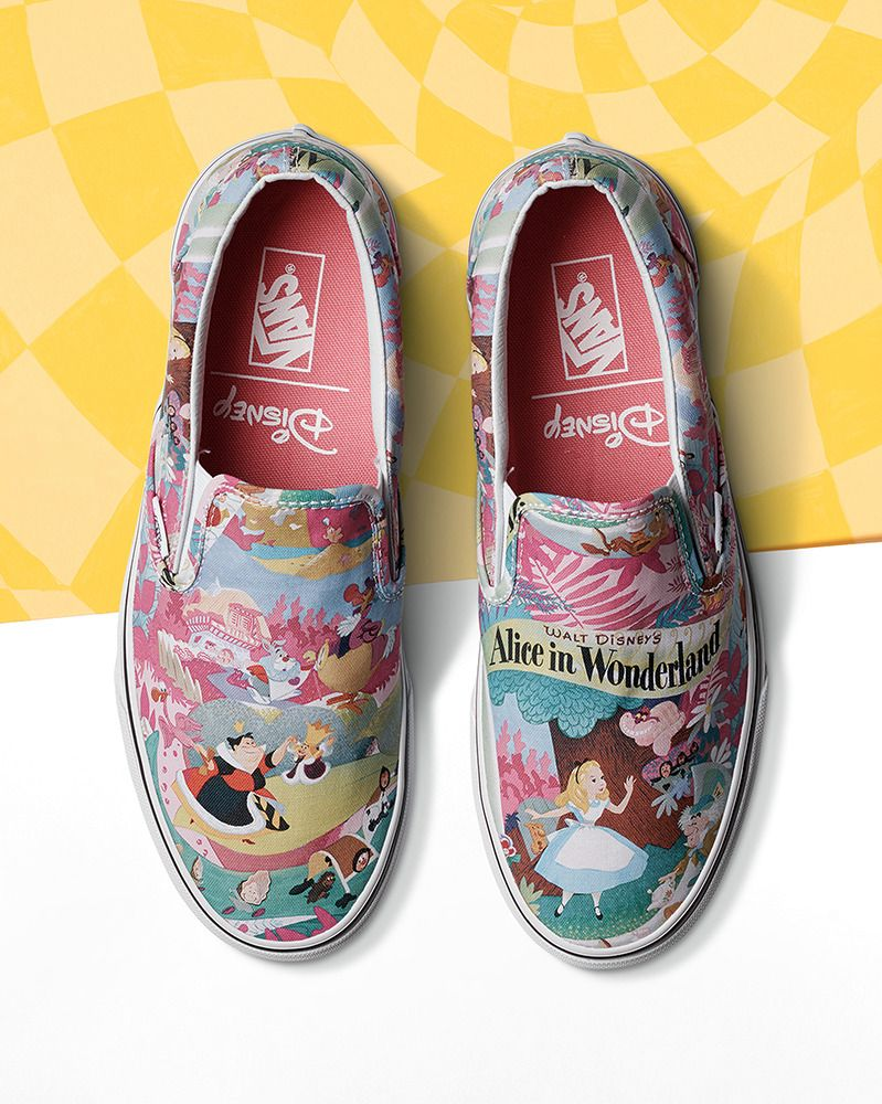 d5c4d62215a017 We re going mad for these Alice in Wonderland Slip-On s! The second release  of the Disney and Vans collection is now available.