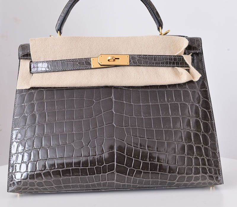 cd71d2e442f3 32cm Hermes Kelly GRAPHITE Shiny Nilo Crocodile GOLD hardware ...