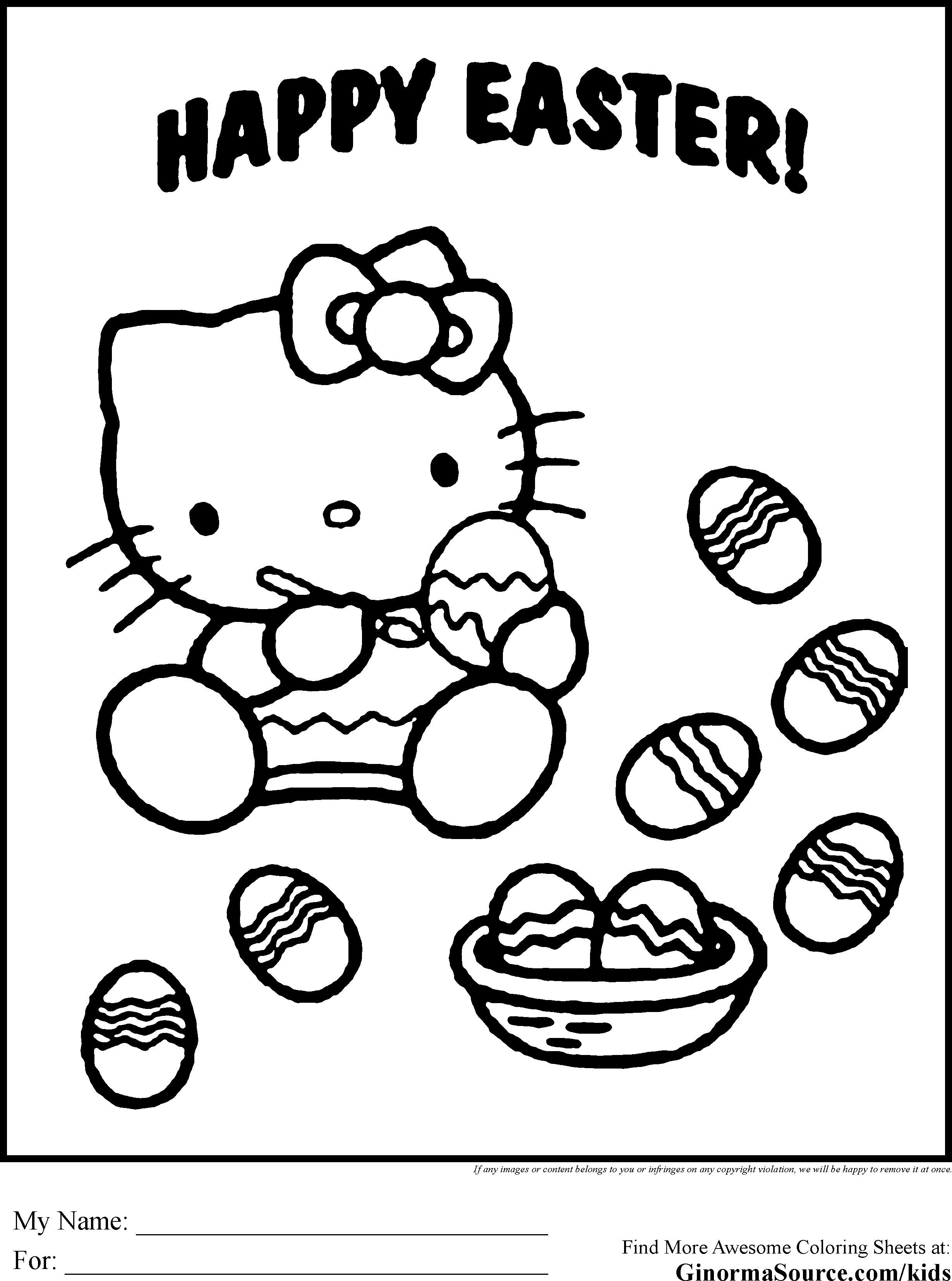Coloring Pages Hello Kitty Easter Eggs
