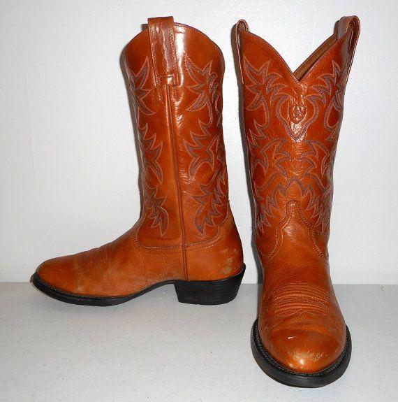 Mens 8 D Ariat Cowboy Boots Caramel Tan by honeyblossomstudio