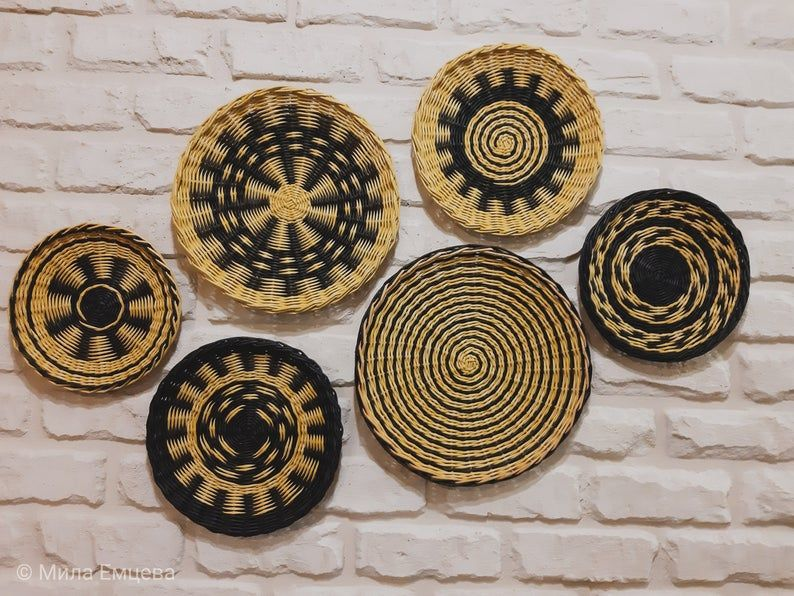 Large Set Of 6 African Style Wall Baskets Wicker Wall Plates Eco Friendly Baskets Bohemian Decor Gift For Home Muur Mand Boheemse Decoratie Muurplaten